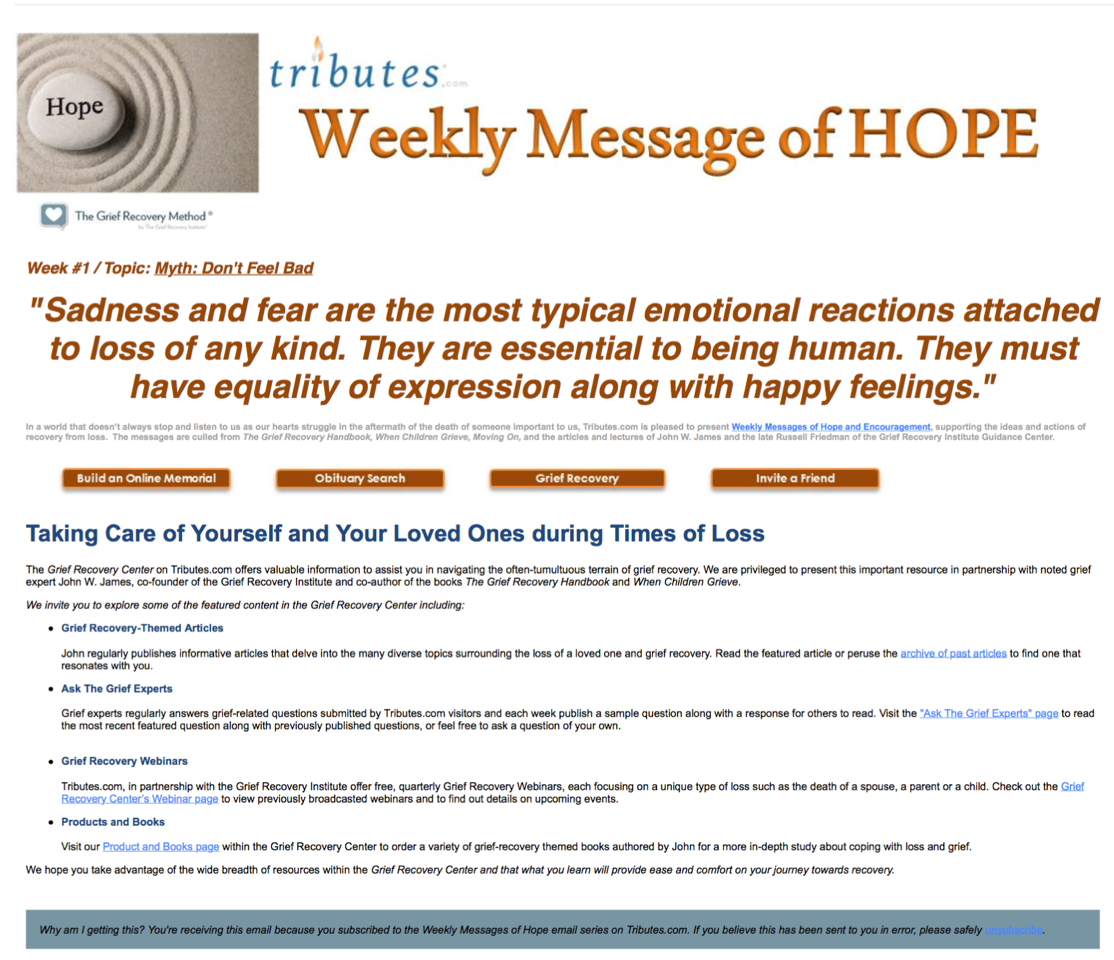 Messages of Hope from the Grief Recovery Institute - Tributes com